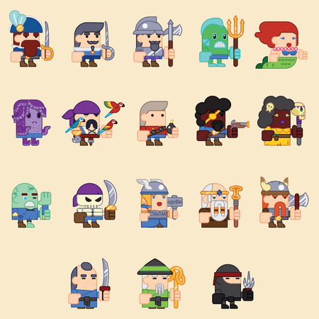 rpg: RPG Adventure Mobile Tablet PC Web Game Screen Concept Characters Flat Design Cartoon Magic Fairy Tail Icon Vector illustration