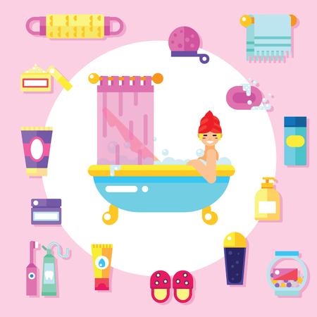 bubble bath: Bath supplies, hygiene accessories, cosmetics etc with smiling girl takes a bubble bath.