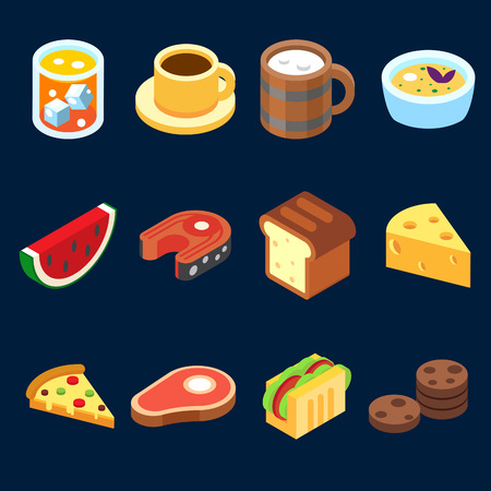 cheese: game icons set different food for higher health level isometric vector icon set.