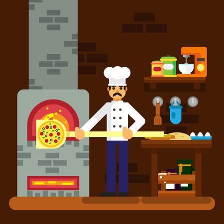 Cocinero panadero icono de cocinar la pizza panadería diseño fondo plano ilustración vectorial ESP10