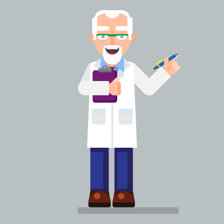 interdisciplinary: old scientist character wearing glasses and lab coat