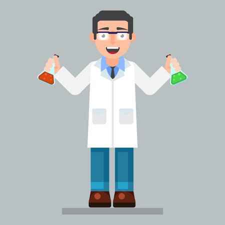 interdisciplinary: scientist character wearing glasses and lab coat