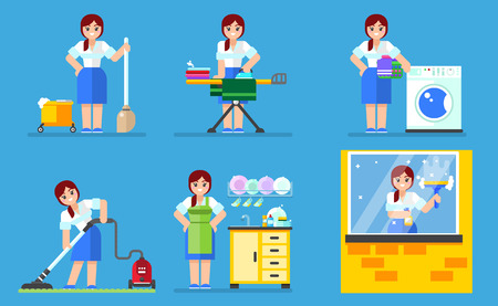 caretaker: Woman washing and cleaning. Household series vector illustration esp10