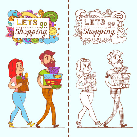 happy shopper: Happy doodle Consumers with a full shopping bags in shop. Shopper. Sales. Funny cartoon character.