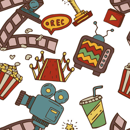 holiday blockbuster: Cartoon vector doodles hand drawn cinema seamless pattern illustration Illustration