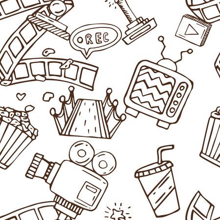 cinematograph: Cartoon vector doodles hand drawn cinema seamless pattern illustration Illustration