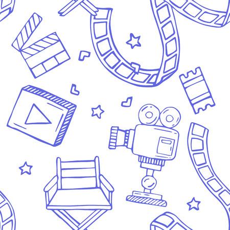 tv camera: Cartoon vector illustration doodles hand drawn cinema seamless pattern