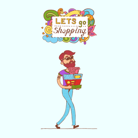 happy shopper: Happy doodle hipster Consumer with a full shopping bags in shop. Shopper. Sales. Funny cartoon character. Vector illustration. Isolated on white background