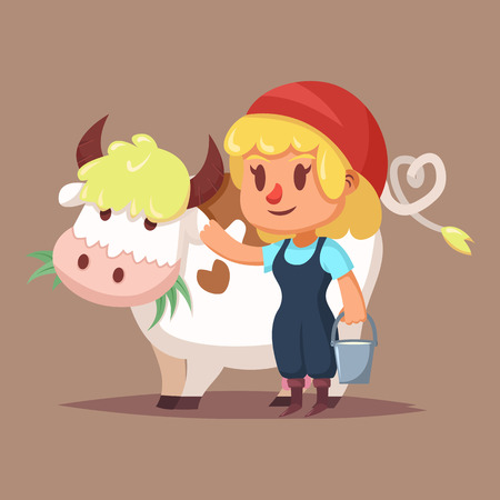 inhabits: Illustration of Cute girl with cow Cartoon character
