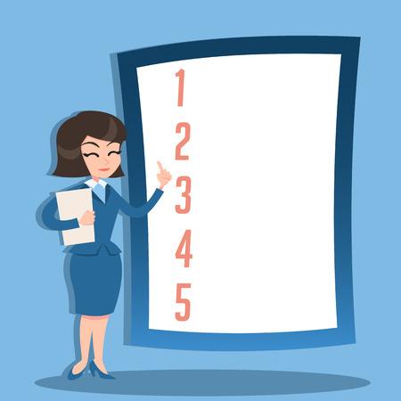 Business woman presentation. Retro style illustration Illustration