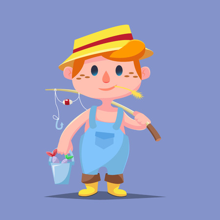 catroon: Cute catroon Boy fishing with fish bucket illustration