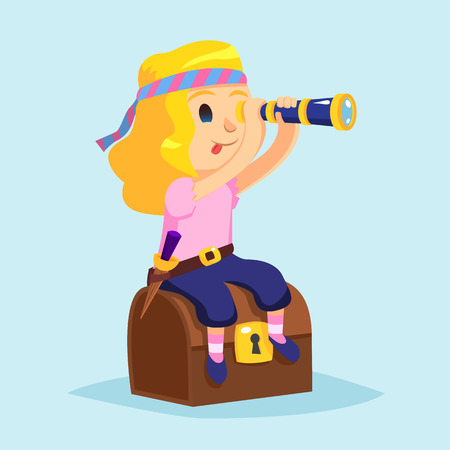 pirate girl: Cute little pirate girl with Spyglass and treasure chest illustration Illustration