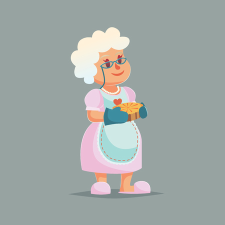 Granny in glasses holding a berry pie