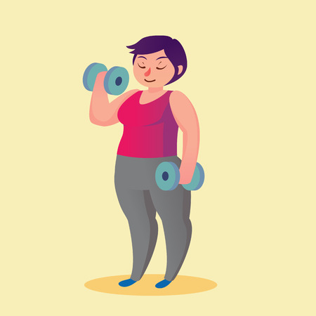 excess: Obese young woman with dumbbells cartoon illustration