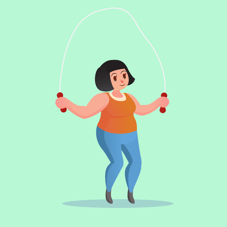 excessive: Obese young woman Jump Rope Workout cartoon illustration