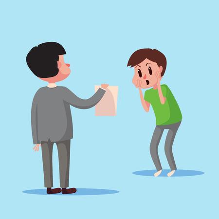 show bill: personaje de dibujos animados muestran el concepto de negocio de pago de facturas electrónicas a un hombre