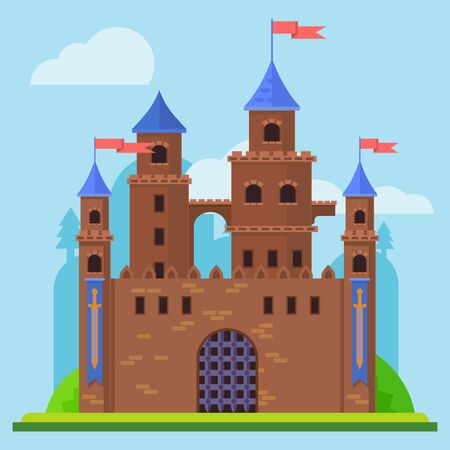the architecture is ancient: Medieval castle. Tower building, architecture ancient history Illustration