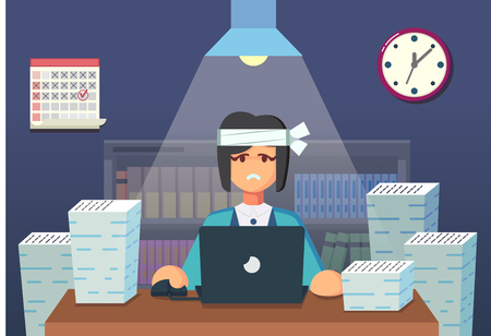cartoon work: Funny flat Cartoon Character. Tired Office Worker Sitting and Working All Night. Vector Illustration eps10