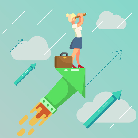 Searching for opportunities. Business colorful flat concept Vector Illustration eps10 Illustration