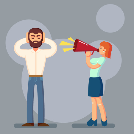 argument: Negative emotions concept. People in fight. Husband and wife arguing and yelling on each other. Expressive and emotional couple having argument. Vector Illustration eps10