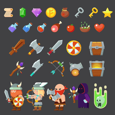 xp: Game icons medieval viking. Inventory, heroes, enemies weapon Vector illustration