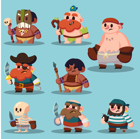 cartoon aborigine, shaman pirate game sprite cute icon vector set eps10