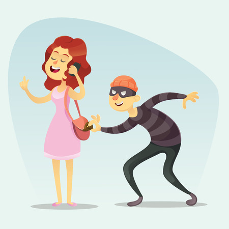 mobster: Vector illustration - funny comic Thief Steals a Purse from Hapless girl chat on phone Character Icon Cartoon Design Template Illustration
