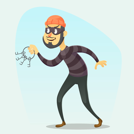 Vector illustration - funny cartoon Burglar carrying a bunch of skeleton keys eps10
