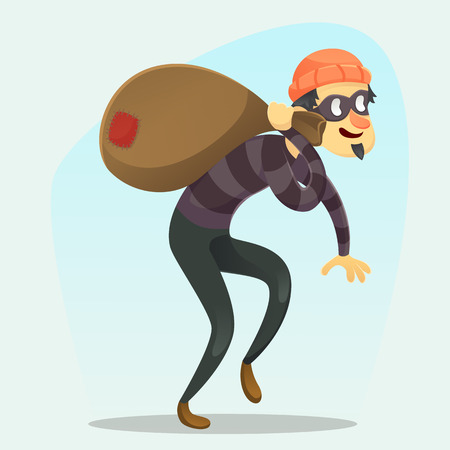 Vector illustration - funny cartoon Thief with sack of money Reklamní fotografie - 82266917