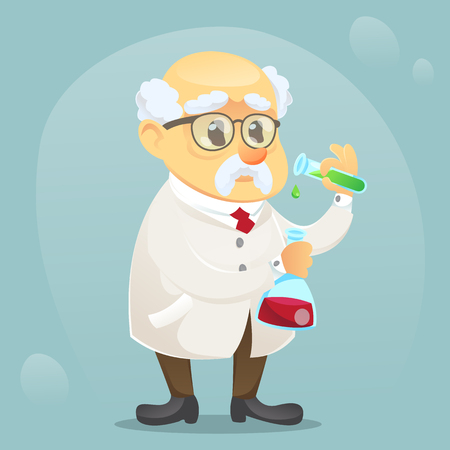 vector cartoon illustration old funny scientist character wearing glasses and lab coat eps10 Banco de Imagens - 82350290