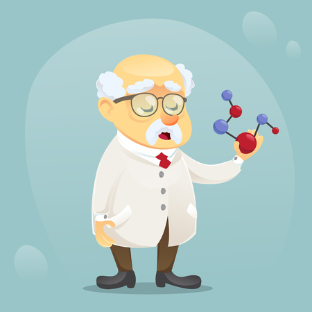 vector cartoon illustration old funny scientist character wearing glasses and lab coat eps10