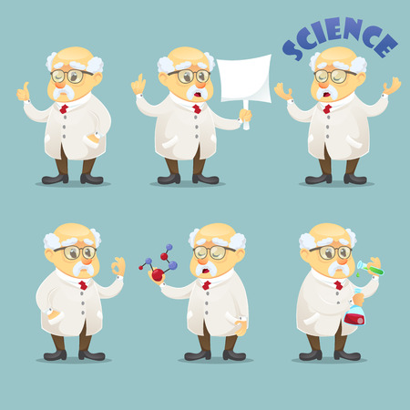 old people: vector cartoon illustration old funny scientist character wearing glasses and lab coat set of poses eps10