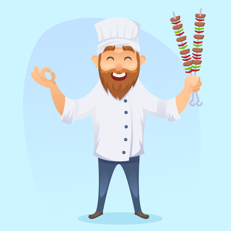 dinner party: A vector illustration of funny cartoon cook man with barbeque eps10
