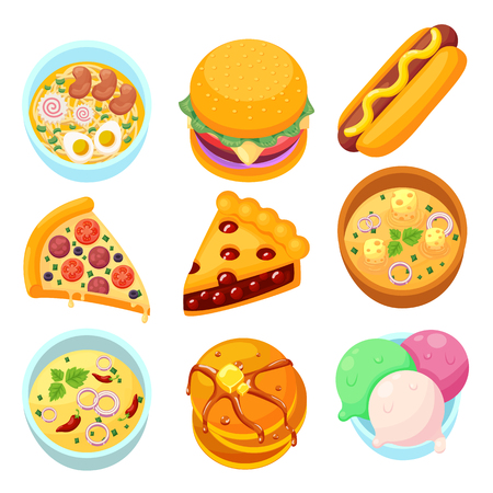 Vector - dishes food dessert and meal tasty cartoon icon set eps10