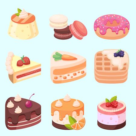 ベクター - セット漫画アイコン eps10 のおいしいお菓子とデザート  イラスト・ベクター素材