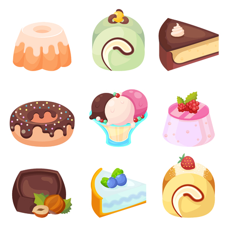 Vector - Set of delicious sweets and desserts cartoon icons eps10 Illustration
