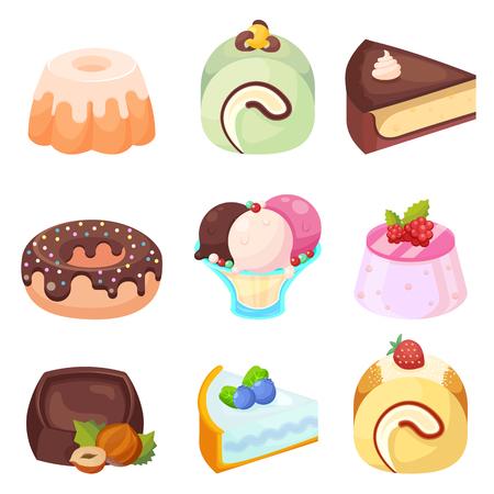 Vecteur - ensemble, délicieux, sucreries, desserts, dessin animé, icônes, eps10 Banque d'images - 84004084