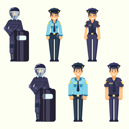 criminal: Vector - Policeman, policewoman, Special Forces soldier Cute happy police man and woman agents working in uniform Vector officer in flat style eps10