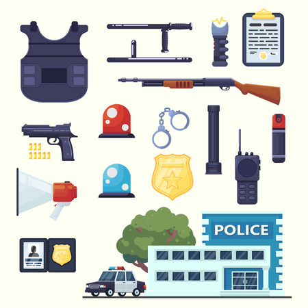 Police professional equipment set. Handcuffs, bulletproof vest, electroshocker, truncheon, badge, weapons, station car and other element eps10