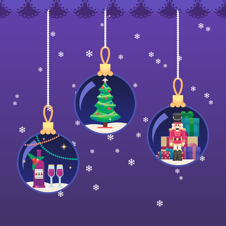 Vector colorful illustration in flat style eps10 Xmas New year ball. Champagne and glasses. Christmas tree. Toy Nutcracker and gifts