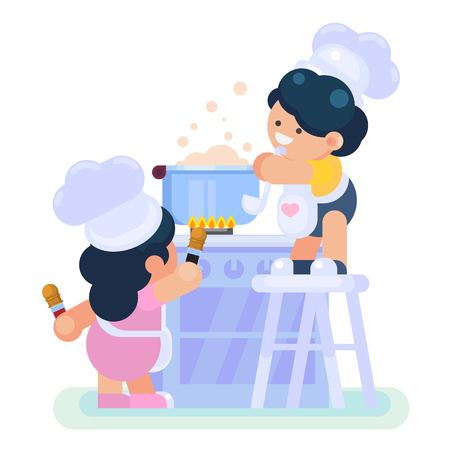 Happy little funny Girl and boy cooking in the kitchen Vector colorful illustration in flat style Illustration