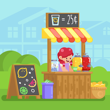 Lemonade booth with happy little cute girl selling young business Vector colorful illustration in flat style image Vettoriali