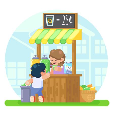 Cabina di limonata con felice piccola ragazza carina vendendo giovane ragazzo primo business Illustrazione colorata di vettore in immagine stile piano Vettoriali
