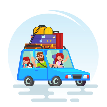 Happy family on a car trip. Family summer vacation, Vector colorful illustration in flat style image. Stock Vector - 91507576