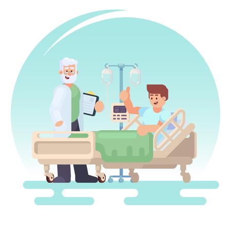 환자의 입원. 의사는 의료 침대에서 한 환자의 병동을 방문합니다. 플랫 스타일 이미지 eps10에서 벡터 다채로운 그림