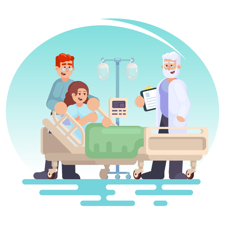 Hospitalisation du patient Visite de médecin à la salle Patiente enceinte dans un lit médical avec mari. Heureux couple jeune famille Vector illustration colorée dans l'image de style plat