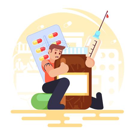 toxicomanie Comprimés de pilules médicales, bouteille, homme toxicomane seringue Illustration colorée de vecteur en image de style plat Vecteurs
