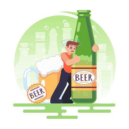 Álcool viciado pessoas homem com uma garrafa de cerveja. Alcoolismo. Ilustração colorida de vetor em imagem de estilo simples