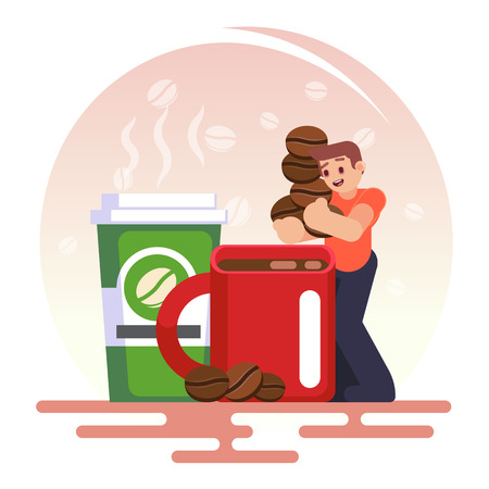 Coffee addiction concept element. business man need more coffee, Vector colorful illustration in flat style image cartoon concept.