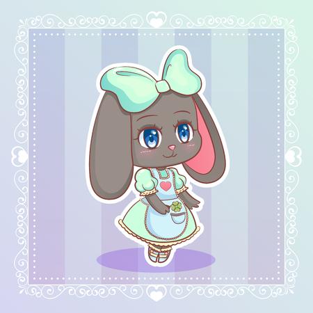 sweet rabbit little cute kawaii anime cartoon bunny girl in mint